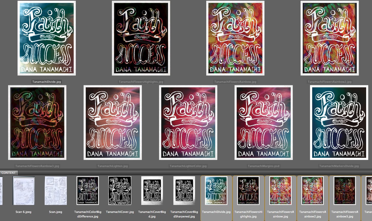 """All the different versions I made for consideration. A version was """"officially a version"""" when I decided the background looked decent with the words. I immediately eliminated the cool temperature ones after seeing all the versions together because it doesn't create the right mood. I like the ones that were more colorful or the effects added meaning to the cover."""