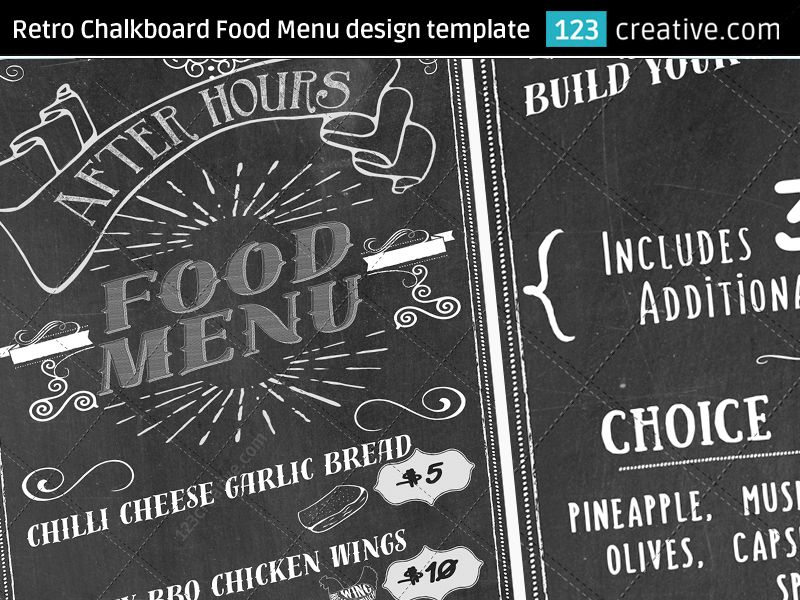 ▻ RETRO CHALKBOARD FOOD MENU DESIGN TEMPLATE PSD - original - menu design template