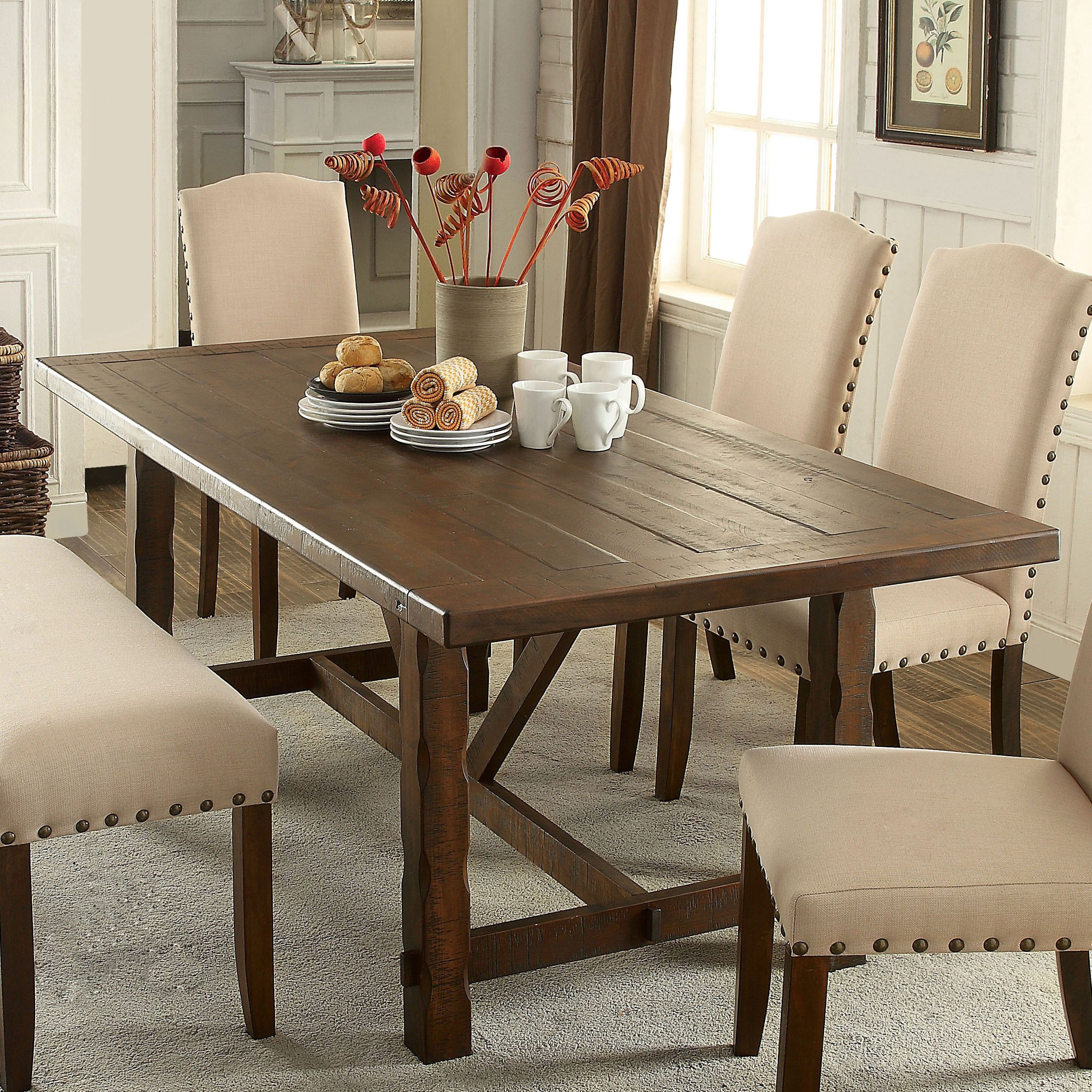Rustic Dining Room Table With Bench: Wide And Inviting, This Dining Table Is A Gorgeous Display