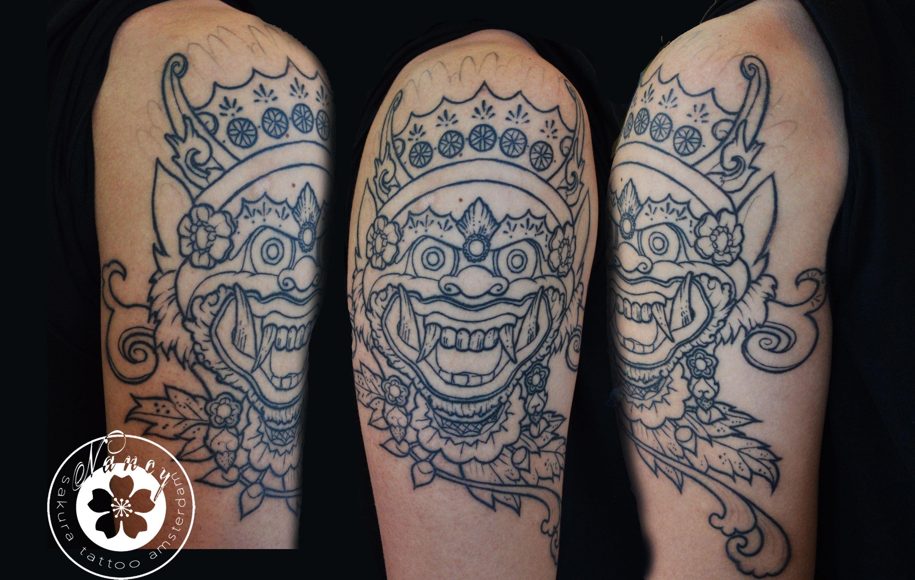 Balimaskoutlinestattoog tattoo art pinterest