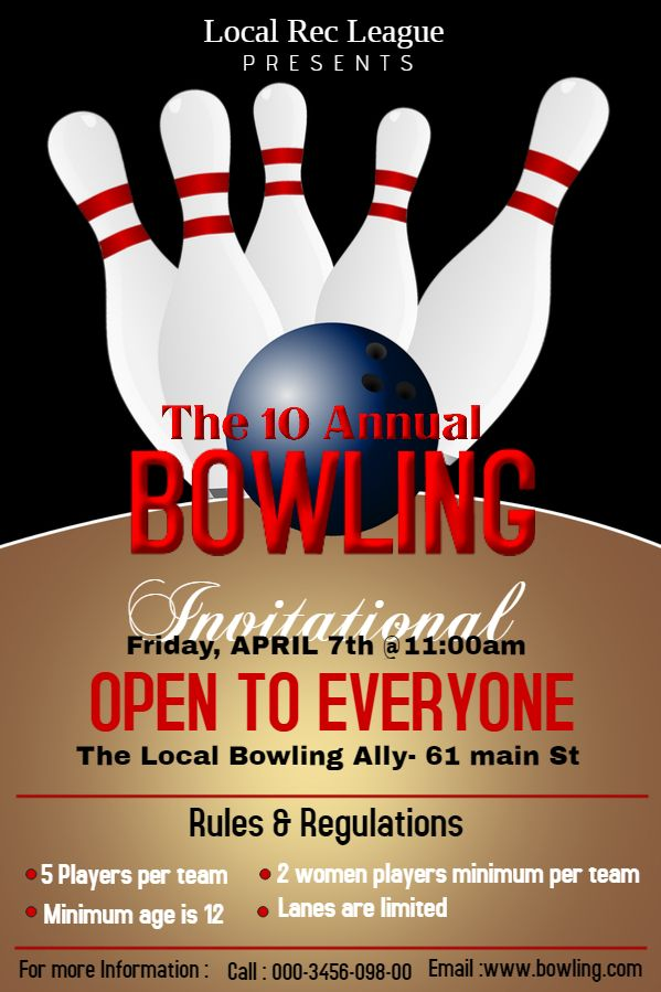 bowling tournament poster template sports poster templates pinterest. Black Bedroom Furniture Sets. Home Design Ideas