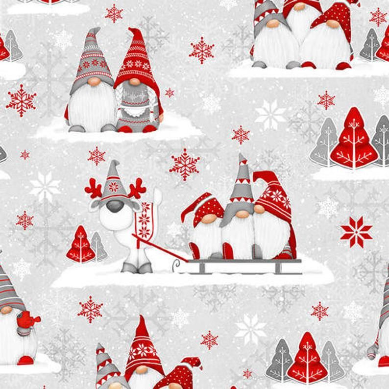 Flannel Fabric, Winter Whimsy, Gnomes, Groups of Gnomes