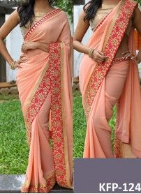Buy Georgette Light Peach Replica Saree..