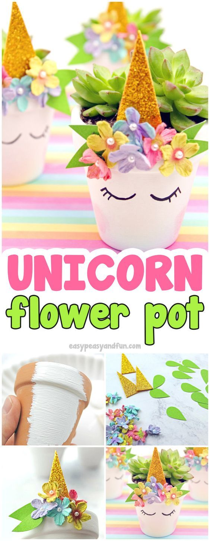 DIY Unicorn Planter Craft Idea #craftsforkids #flowerporcrafts #unicorncrafts