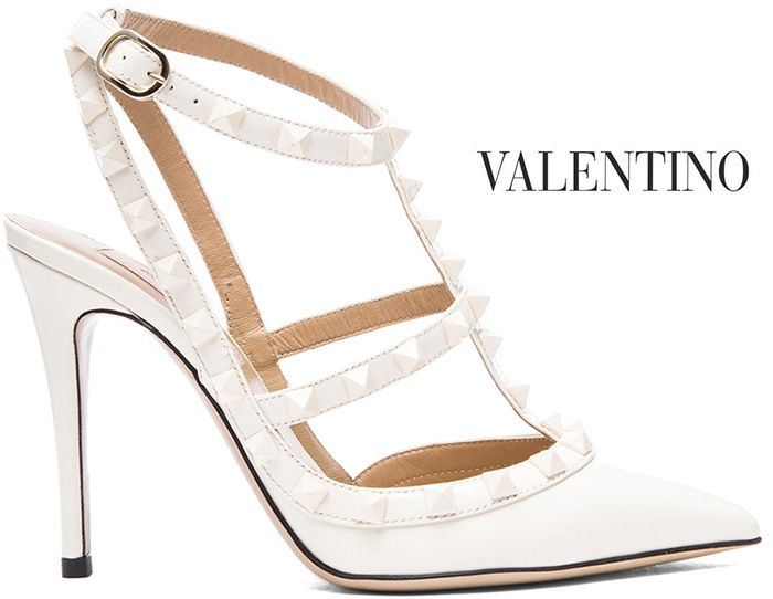 Valentino Rockstud White Leather Slingback Pumps - Buy Online - Designer  Pumps, Slingback
