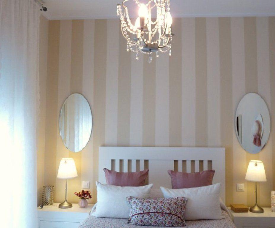 Dormitorio pared chocolate o papel pintado a rayas - Papel pintado en muebles ...