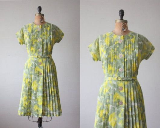 Adorable vintage gray and yellow dress from the 50s  from Thrush on etsy