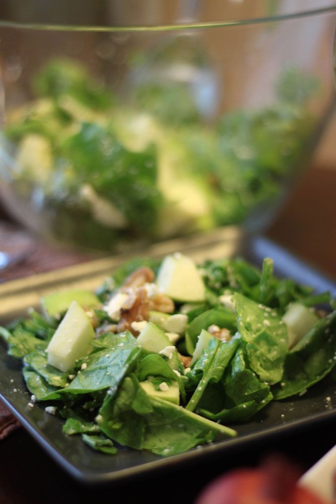 Spinach Salad with apple, walnuts, and gorgonzola cheese