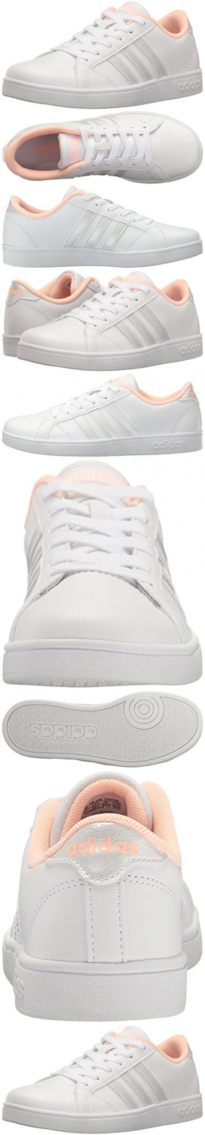 ... inexpensive adidas neo girls baseline k sneaker white white haze coral  12 medium us little kid 7ec527d3a