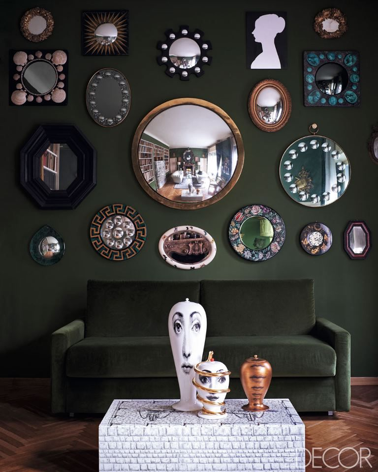 I Love All Of These Fun Mirrors On One Wall! Milan Homes   Barnaba  Fornasetti Interiors   ELLE DECOR