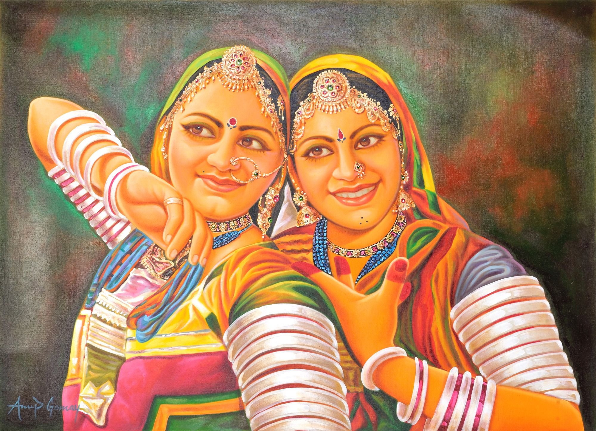 Two Young Bedia Women – A Tribe Earning Its Bread by Dancing by ... for Abstract Painting Of Indian Dancers  75sfw