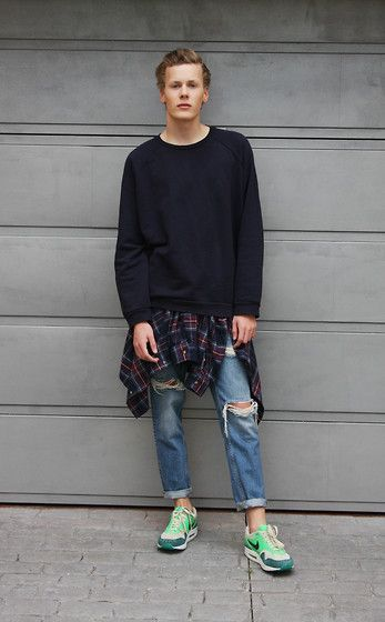 Acne Studios Sweater, H&M Plaid Flannel Shirt, Zara Ripped