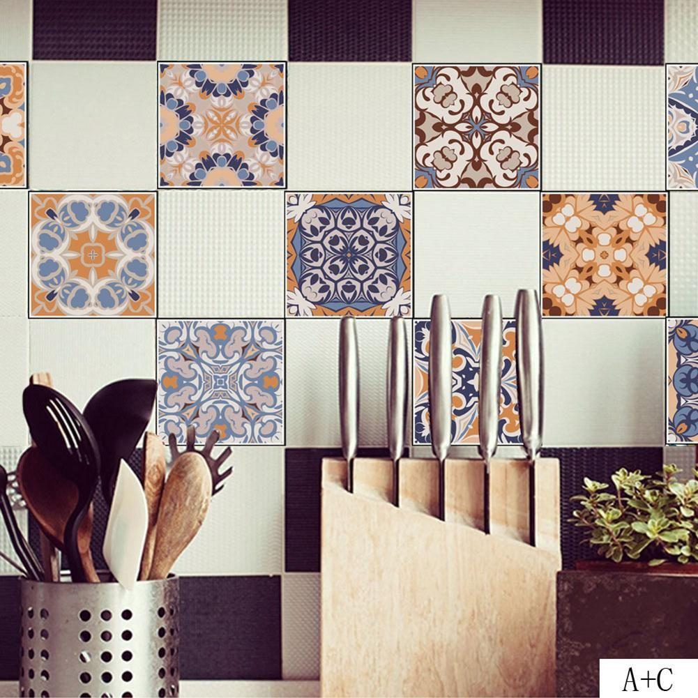 Photo of Vintage Tile Stickers Waterproof Bathroom Bedroom Toilet Kitchen Floor Decor – as the picture g