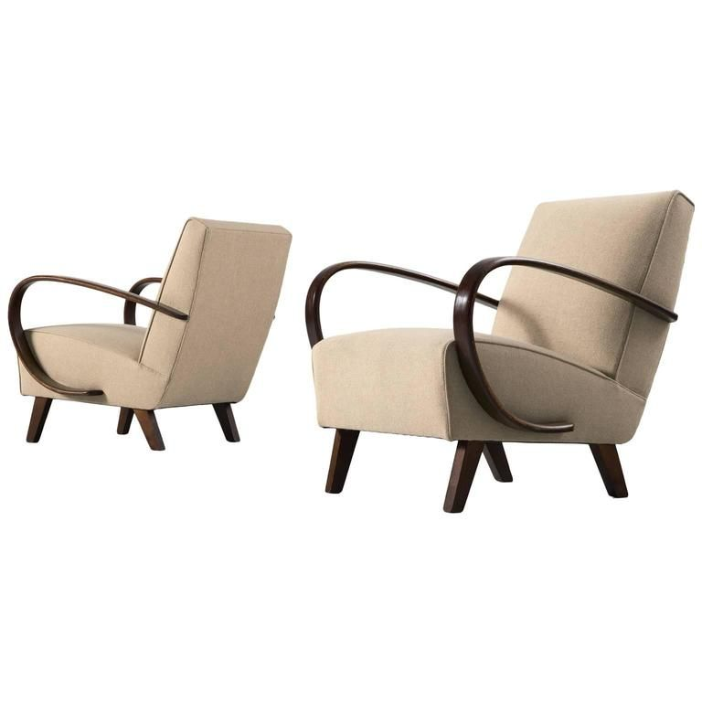 Jindrich Halabala Pair of Reupholstered Easy Chairs | From a unique collection of antique and modern lounge chairs at https://www.1stdibs.com/furniture/seating/lounge-chairs/