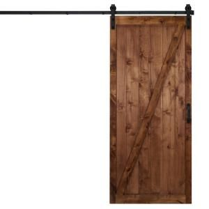 Dogberry Collections 36 In X 84 In Classic Z Walnut Alder Wood Interior Sliding Barn Door Slab With Hardware Kit D Zbar 3684 Waln None Hard Interior Sliding Barn Doors Hanging Barn Doors Wood Barn Door