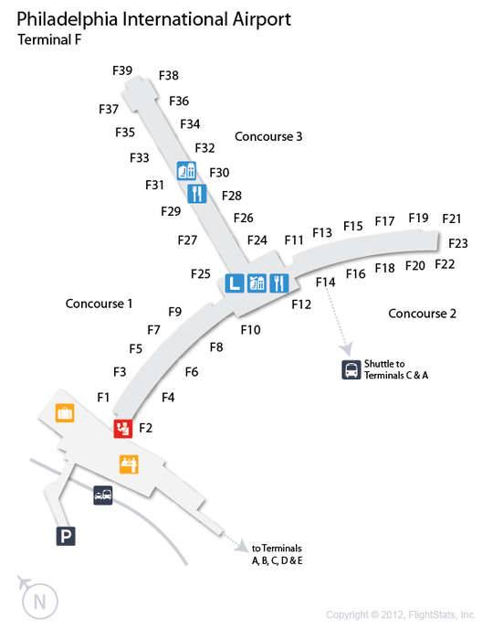 PHL Philadelphia International Airport Terminal Map Airports - Philadelphia terminal map
