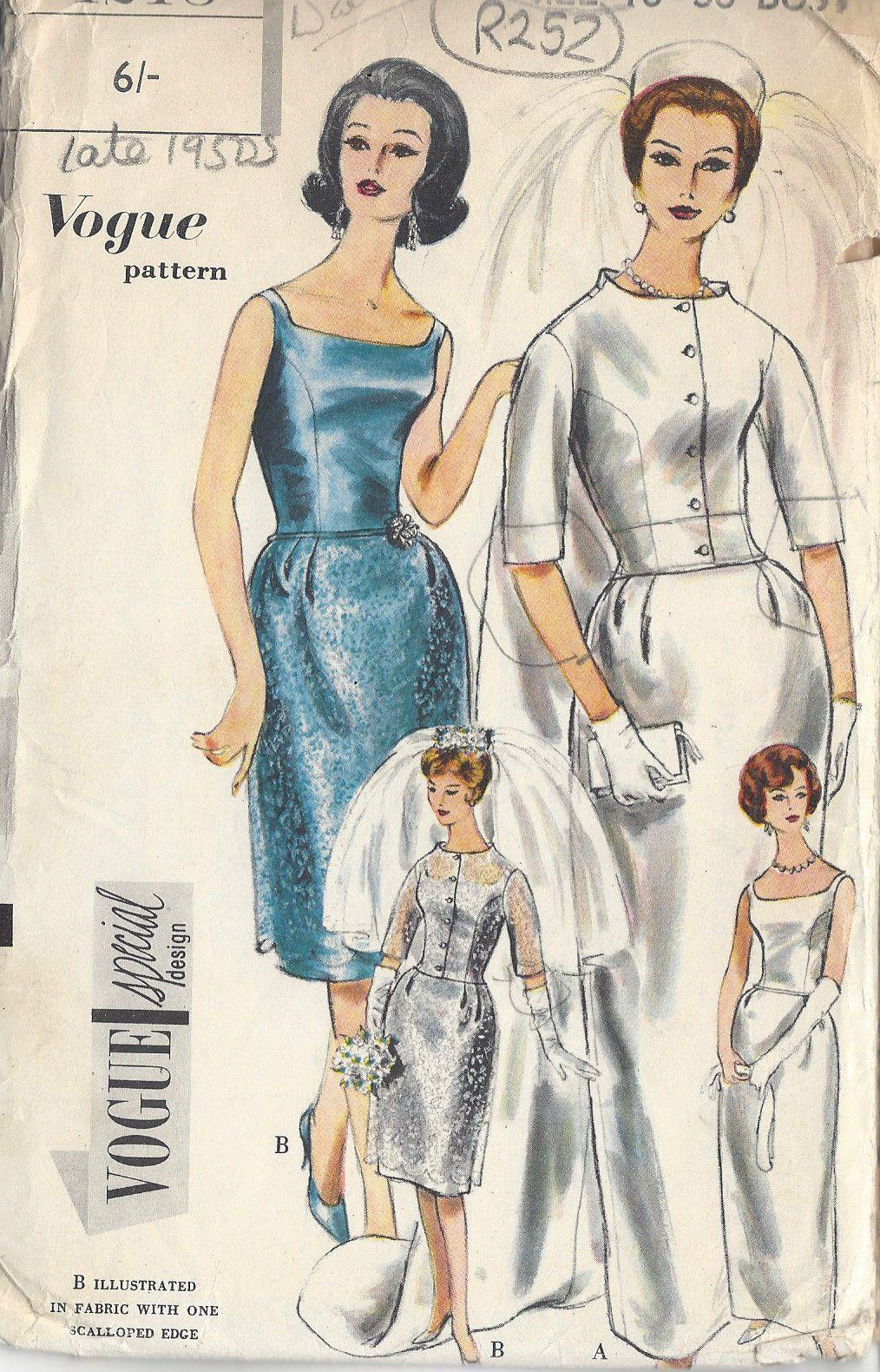 1960s Vintage VOGUE Sewing Pattern B36\