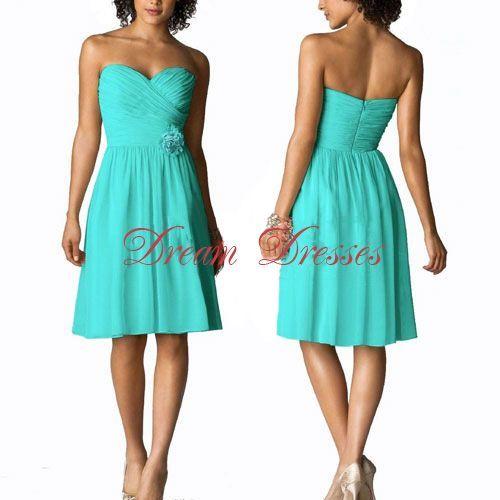 Dream Dresses Strapless Sweetheart Bridesmaid Tail Party Dress Aqua Short