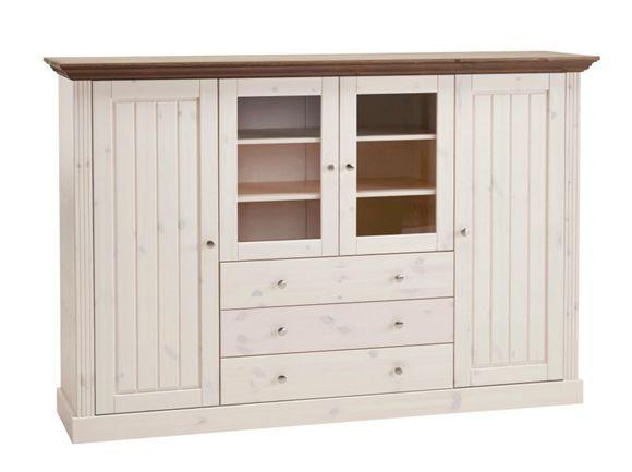 Badezimmerschrank Braun ~ Highboard kiefer massiv gebeizt lackiert braun weiß