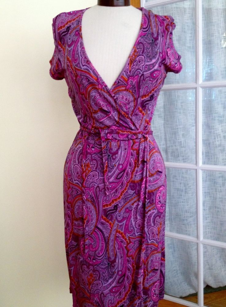 Ann Taylor Pink Paisley Deep V-Neck Wrap Dress Size 4 NWT $119 ...