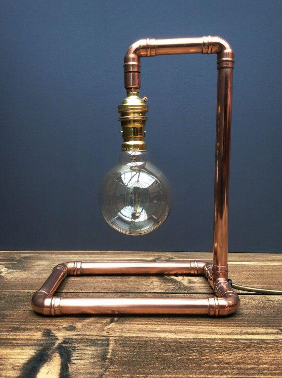 Copper Pipe Retro Industrial Style Pendant Table Lamp