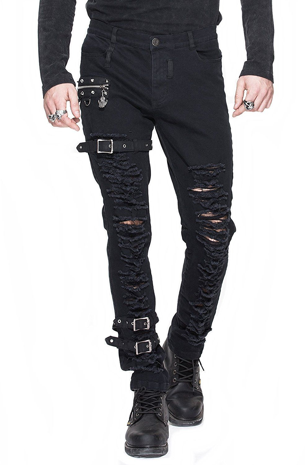 jeans hose herren trousers pants zerrissen schwarz mit schnallen nieten gothic punk rave schwarz. Black Bedroom Furniture Sets. Home Design Ideas