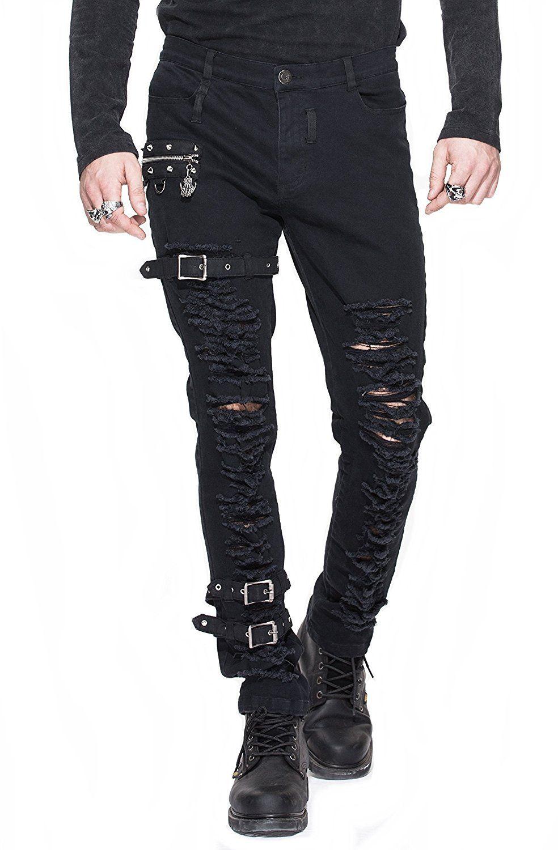 Jeans Hose Herren Trousers Pants zerrissen schwarz mit Schnallen Nieten  Gothic Punk Rave schwarz (L