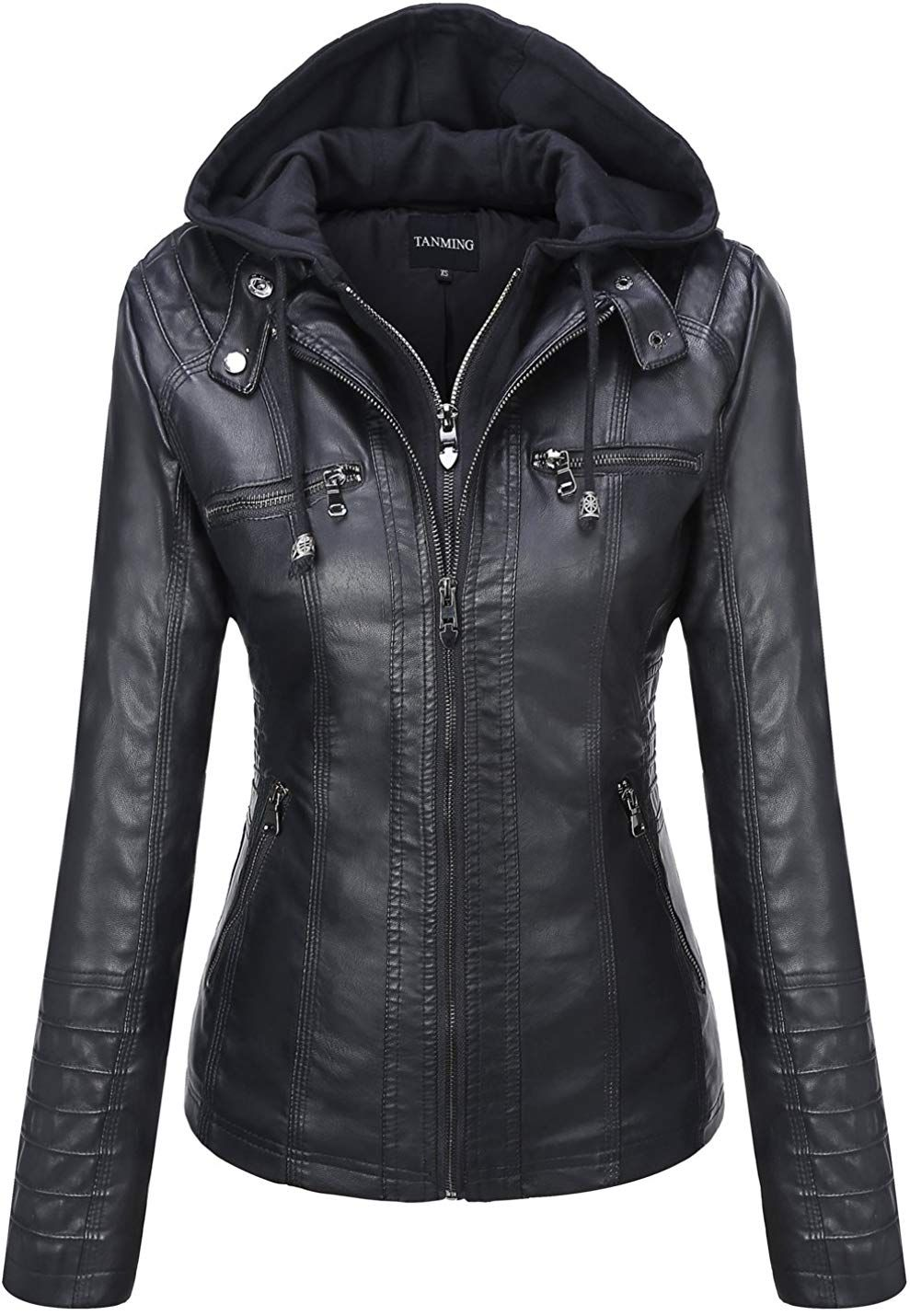 Tanming Women's Removable Hooded Faux Leather Jackets at