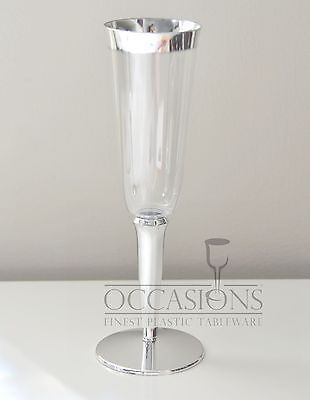 Bulk Wedding Disposable Plastic Champagne Flutes Wine Cups Silver Rim Gles