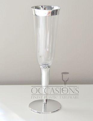 Bulk Wedding Disposable Plastic Champagne Flutes Wine Cups Silver Rim Gles