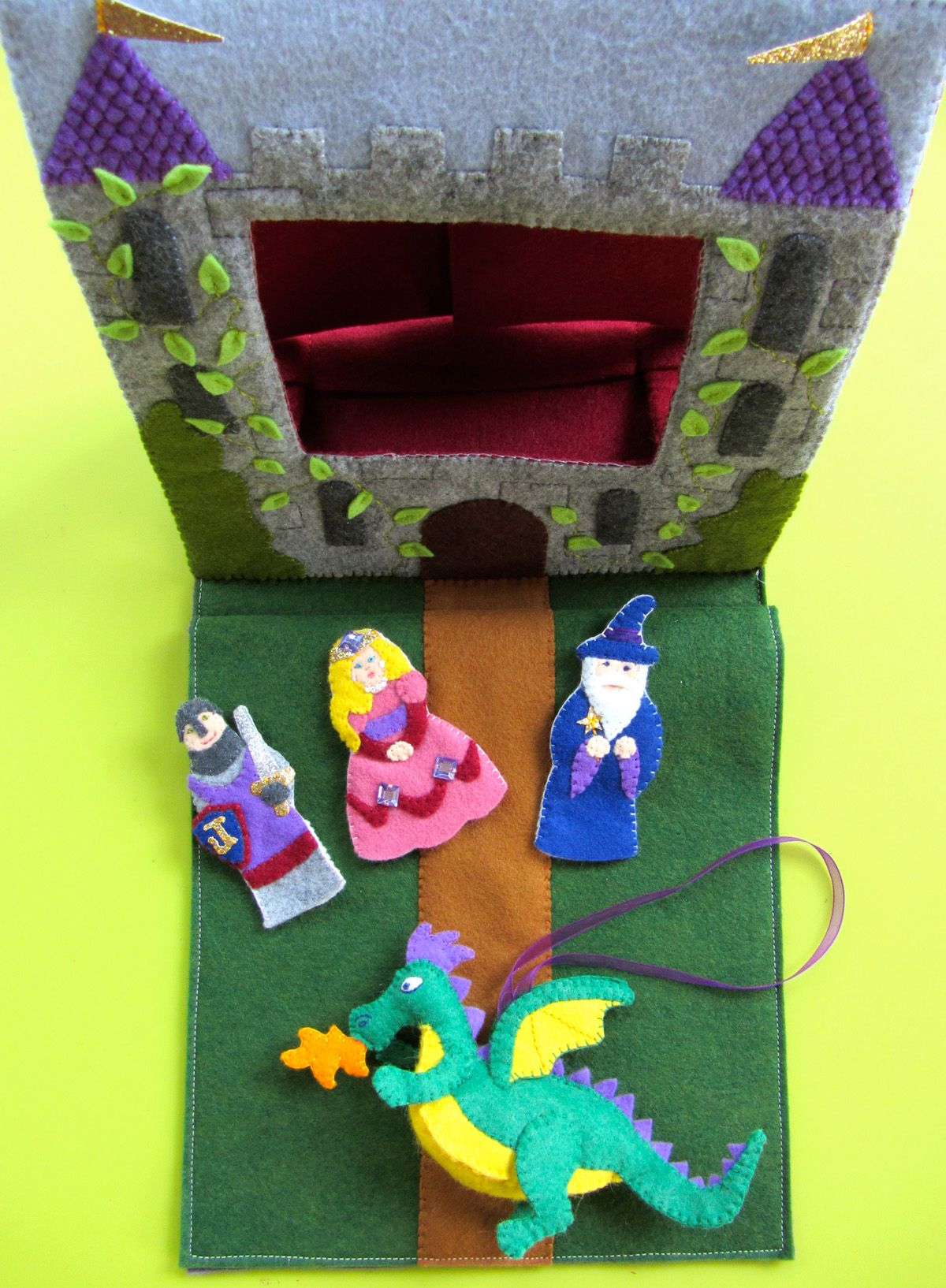 Pop-up castle puppet theater quiet book page (with free pattern)