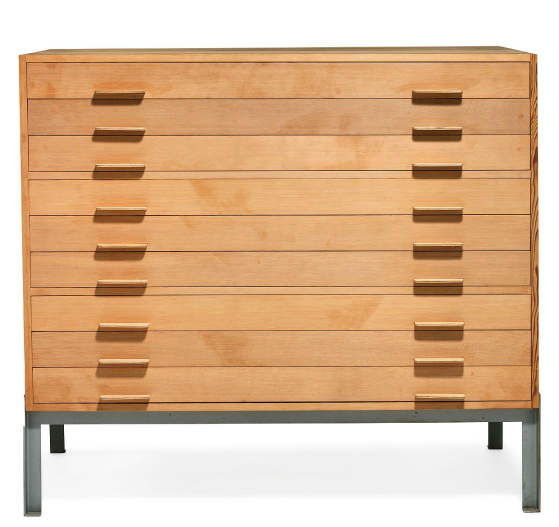 Poul Kj Rholm Oregon Pine And Enameled Metal Flat File Cabinet  # Muebles Carreiro