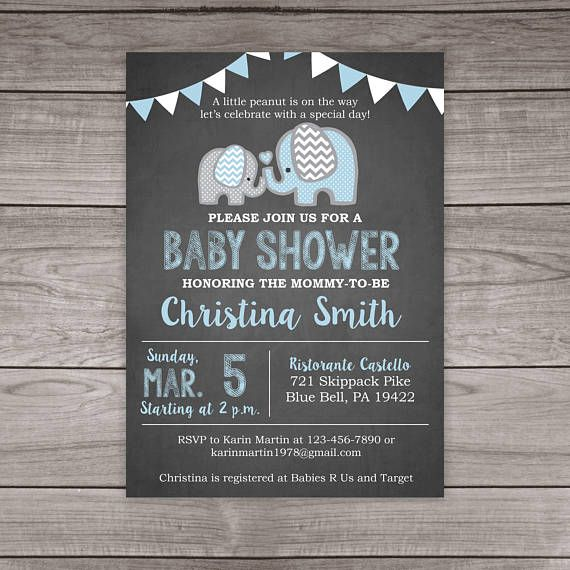 elephant baby shower invitation boy chalkboard baby shower