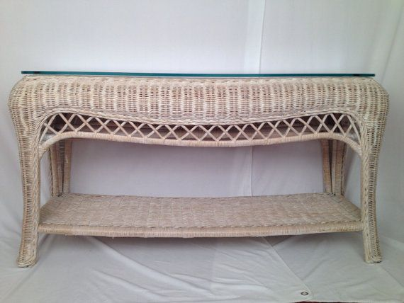 Vintage Wicker Console Table Hollywood Regency Mid By Maison20th, $195.00