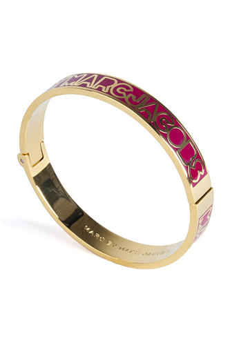 Skinny hinge bangle featuring a pop of colour with the signature Marc By Marc Jacobs logo. #Marcbymarcjacobs