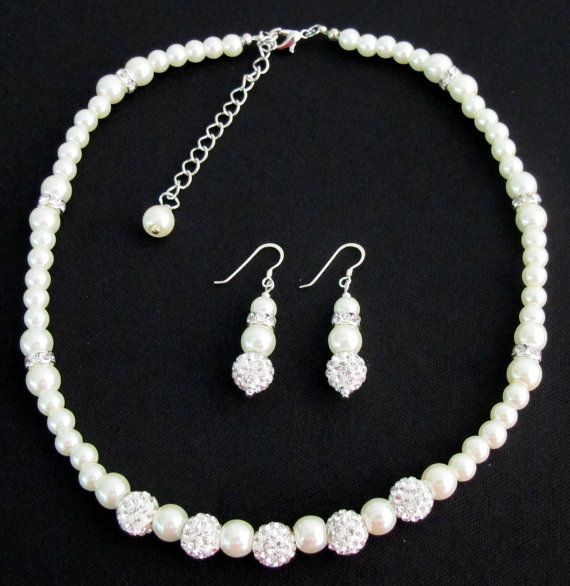 Flower Girl Jewelry Set  Bridal Pearls  by fashionjewelryforeve