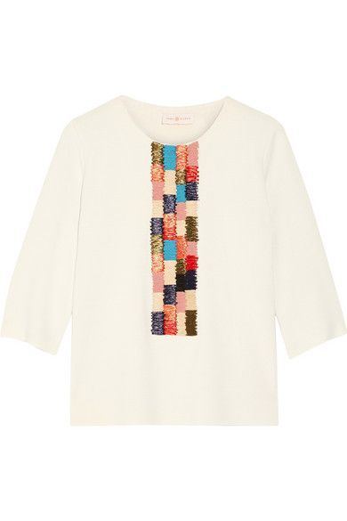 57563953d TORY BURCH Milano Raffia-Paneled Ribbed-Knit Tunic.  toryburch  cloth  tops
