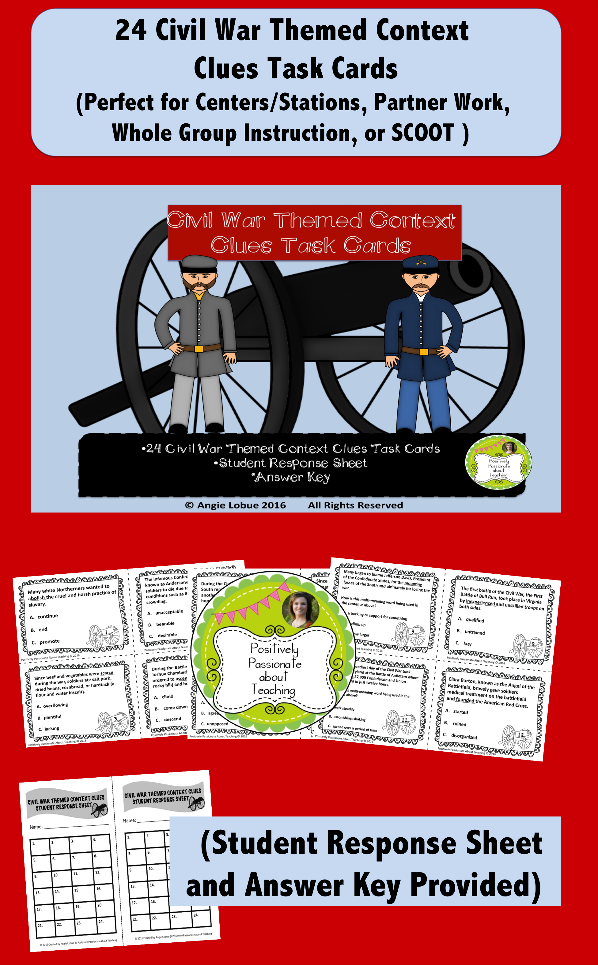 Civil War Task Cards Context Clues Common Core And Tek