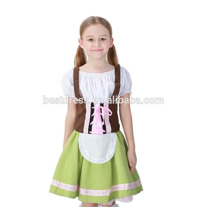 Child Girls Beer Wench Oktoberfest German Fancy Dress Halloween Kid Blue Costume
