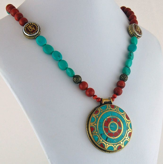 Tibetan Pendant with Turquoise and Coral Necklace by Rivendell Rock Jewelry, $96.00 USD
