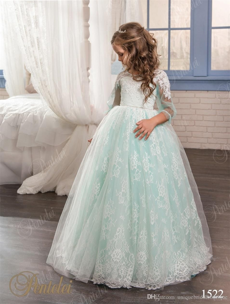 Mint Little Girls Wedding Dresses 2017 Pentelei With Illusion Long ...