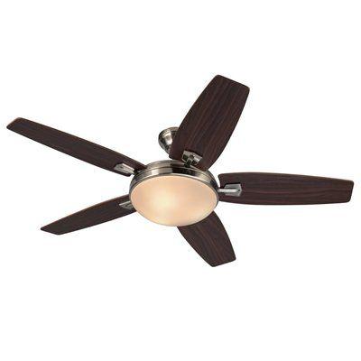 Simple Elegant Harbor Breeze 48 in Brushed Nickel Indoor 5 Blade Standard Ceiling Fan Remote Control Included Picture - Popular 5 light ceiling fan Elegant