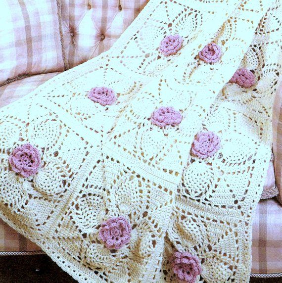 Wildflower Afghan ~ Colorful Granny Squares Flowers crochet pattern leaflet