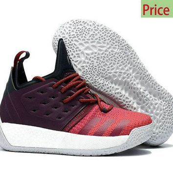 2018 How To Buy Mens Adidas Harden Vol 2 Maroon Burgundy Red Black White  Basketball Sneakers 4beb469279c6