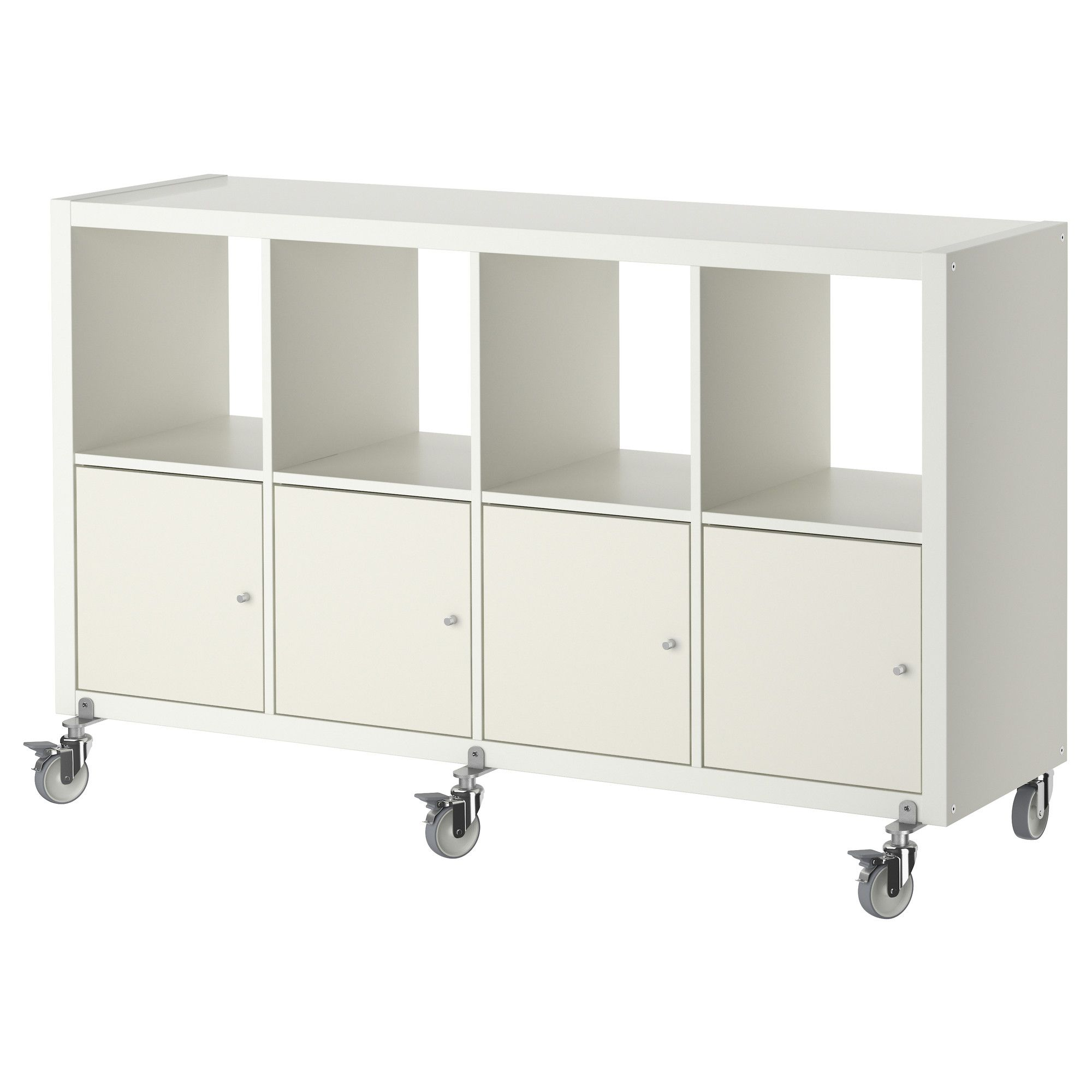 kallax shelf unit on casters with 4 doors, white in 2018 | ikea