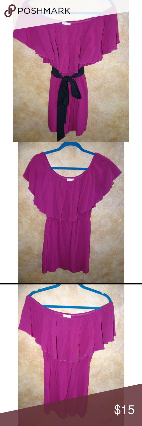 GB Fuchsia Dress Lightly worn GB dress. Can be worn off or on shoulder, both ways looks cute 😊. The belt loops are cut off but you can hardly notice! Dress color is closer to last photo. ✨All offers considered✨  🌸Bundle 3 items for 15% OFF or BOGO get one 50% up to as many items as you'd like 🌸 Gianni Bini Dresses Mini