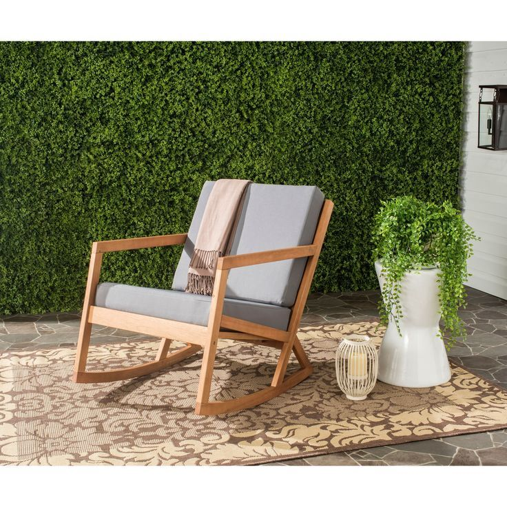 safavieh outdoor living vernon brown/ tan rocking chair by