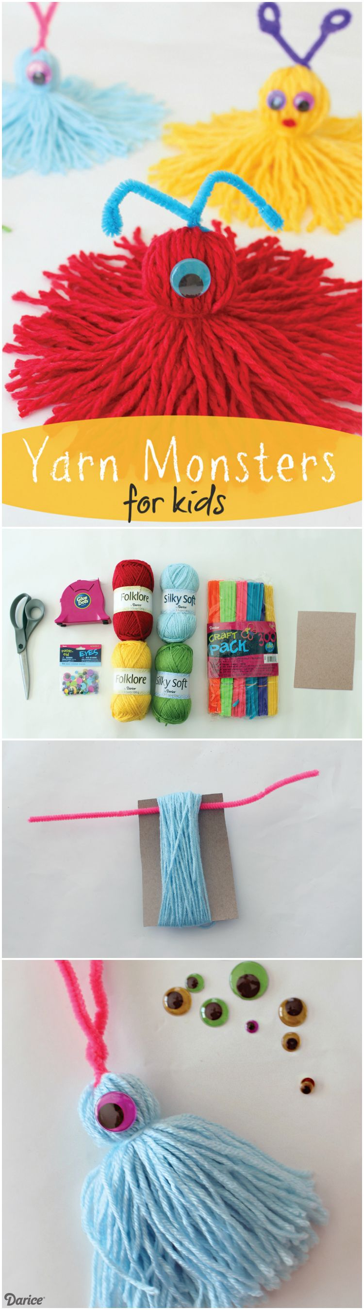 yarn crafts for kids yarn monsters for easy craft tutorial darice 5796