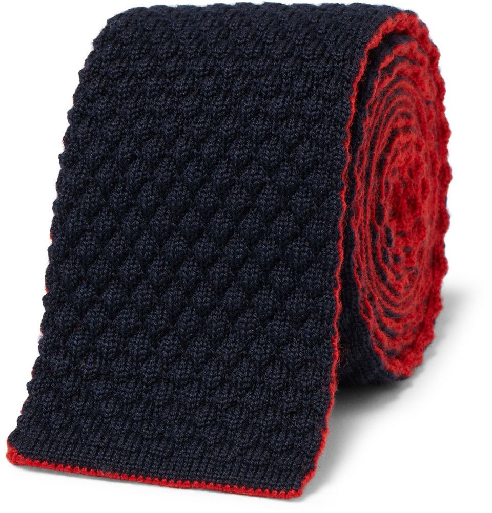 Reversible Knitted Wool Tieby Drakes of London