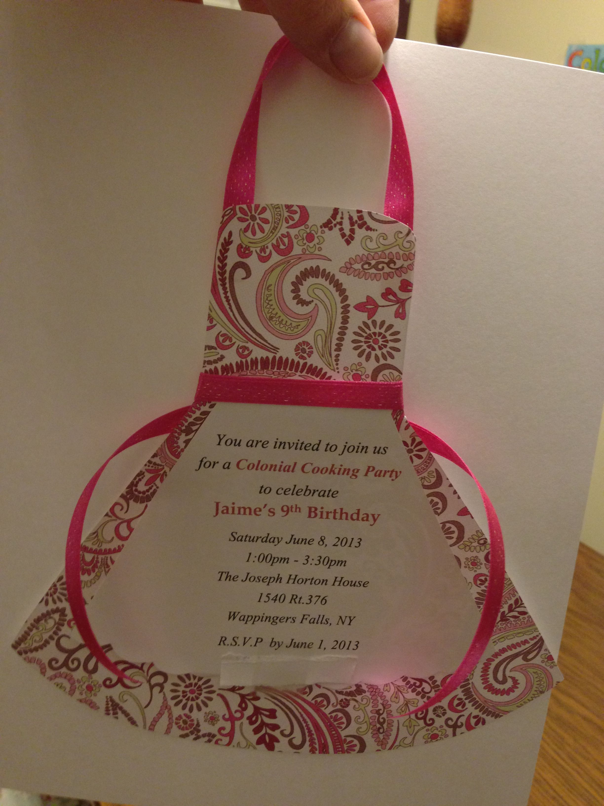 Cooking party apron invitation Party Ideas Pinterest – Kids Cooking Party Invitations